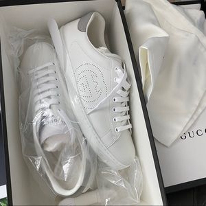 Gucci men's ace perforated grey white sneakers 9